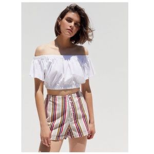 UO Molly Striped Denim Button-Fly Short